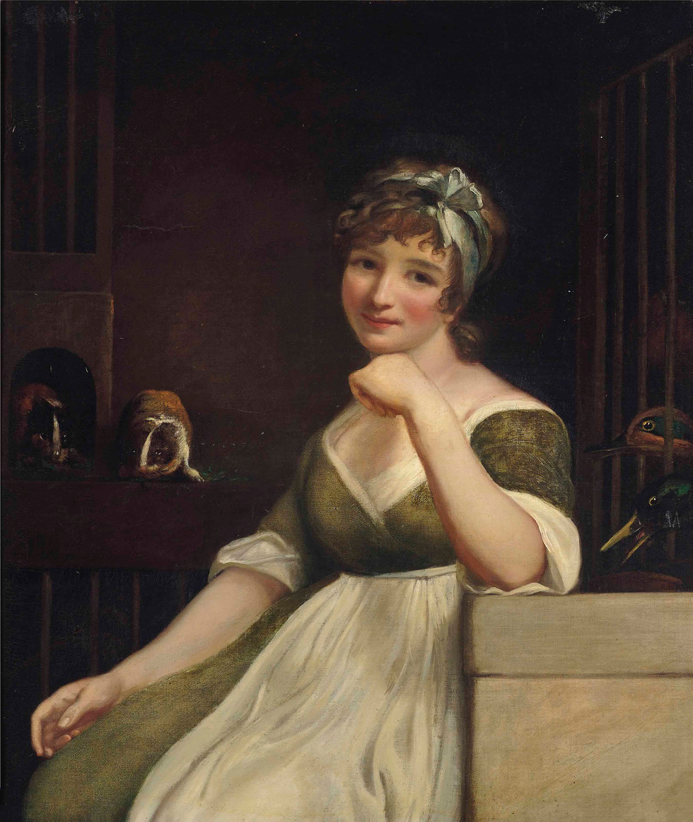 A Young Lady in a Green Dress, seated in an interior, with Ducks and Guinea Pigs
