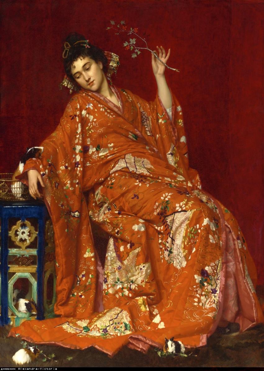 La Japonaise (Woman in kimono with 5 calico guinea pigs)