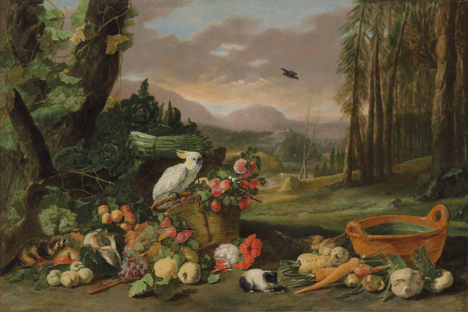 A wooded landscape with a still life of fruit, a guinea pig and a sulphur-crested cockatoo