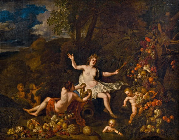 Allegory of the earth - landscape with ceres, putti and rich fruit trees