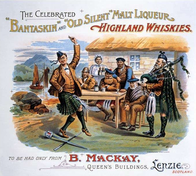 """The Celebrated 'Bantaskin' and 'Old Silent' Malt Liqueur Highland Whiskies"" vintage advertisement with a sword dance!"