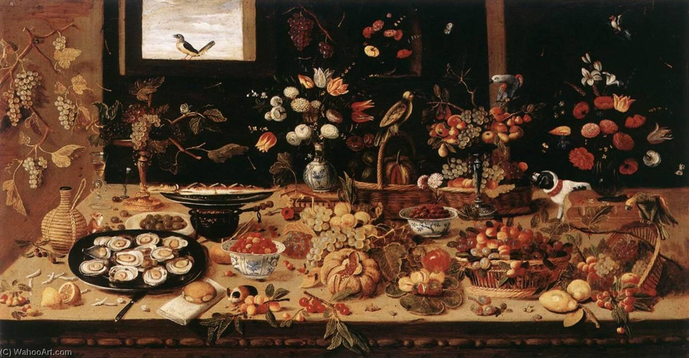 Still Life Buffet with Guinea Pig and Dog