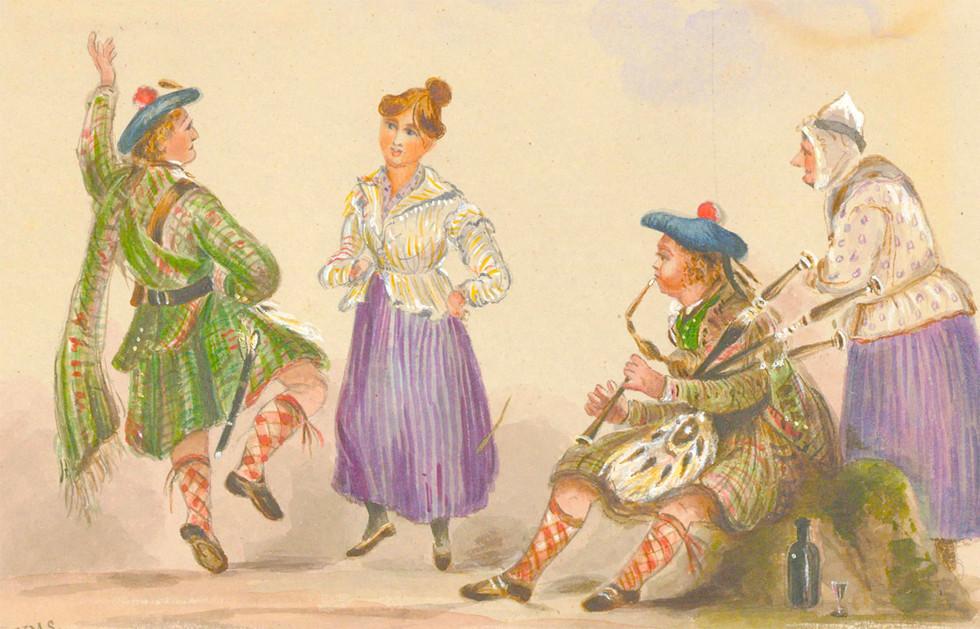 H.M.S - Scottish School Late 19th Century Watercolour, Scottish Dancers with Ladies watching.