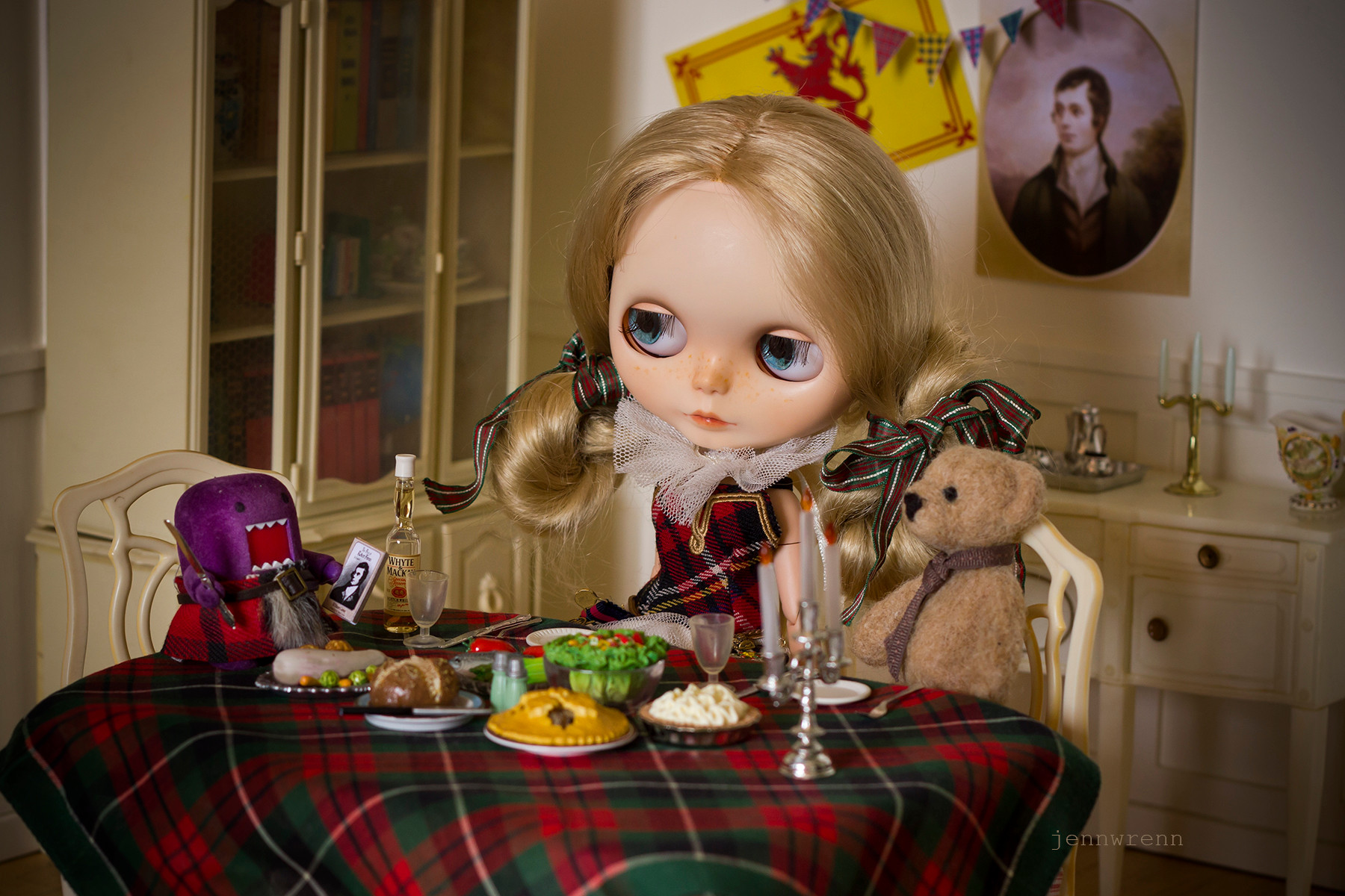 Doll House Burns Night with miniature food, including the haggis!  JennWrenn, 2017