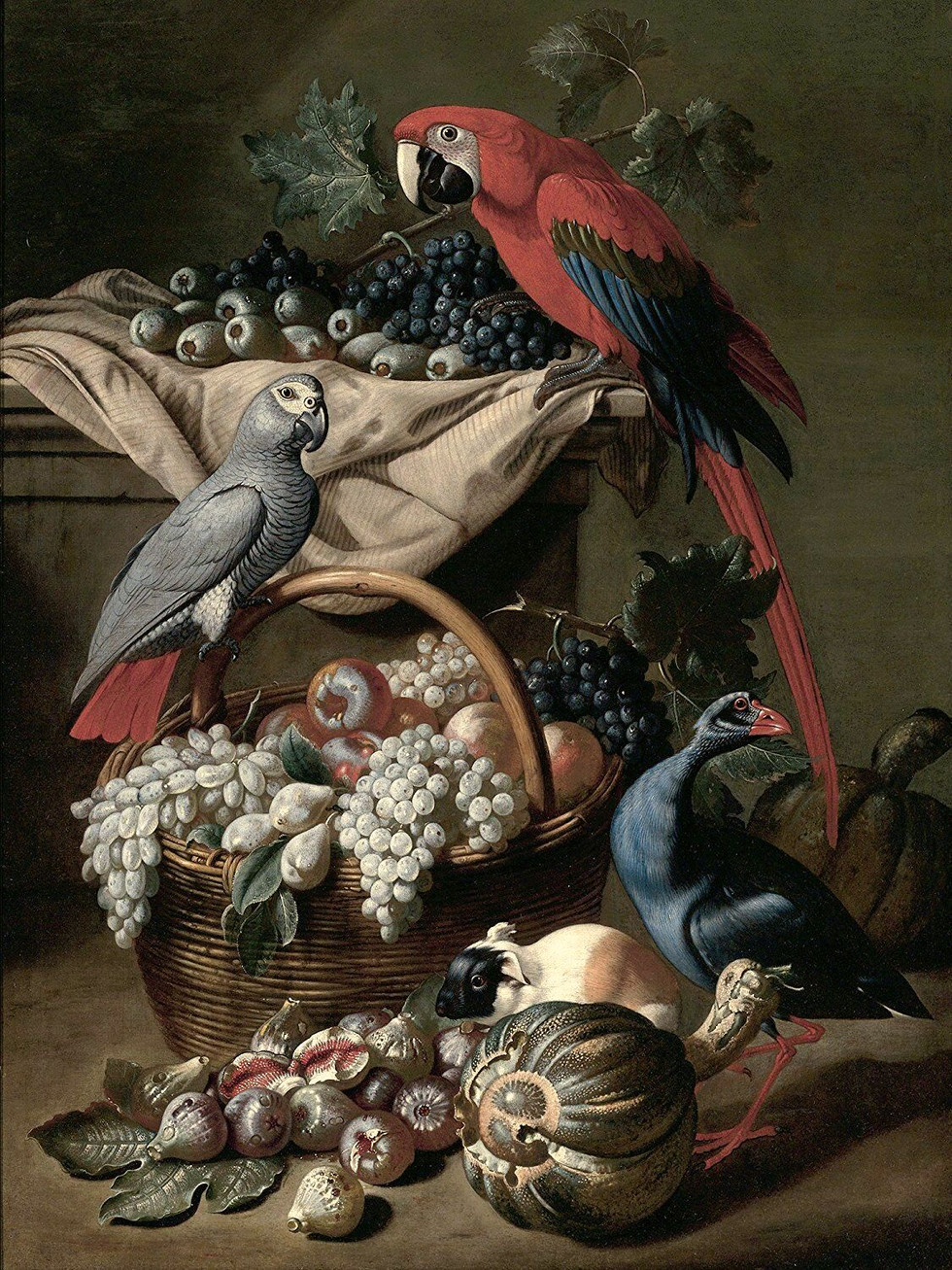 Still life with parrot, guinea pig, grapes and fowl