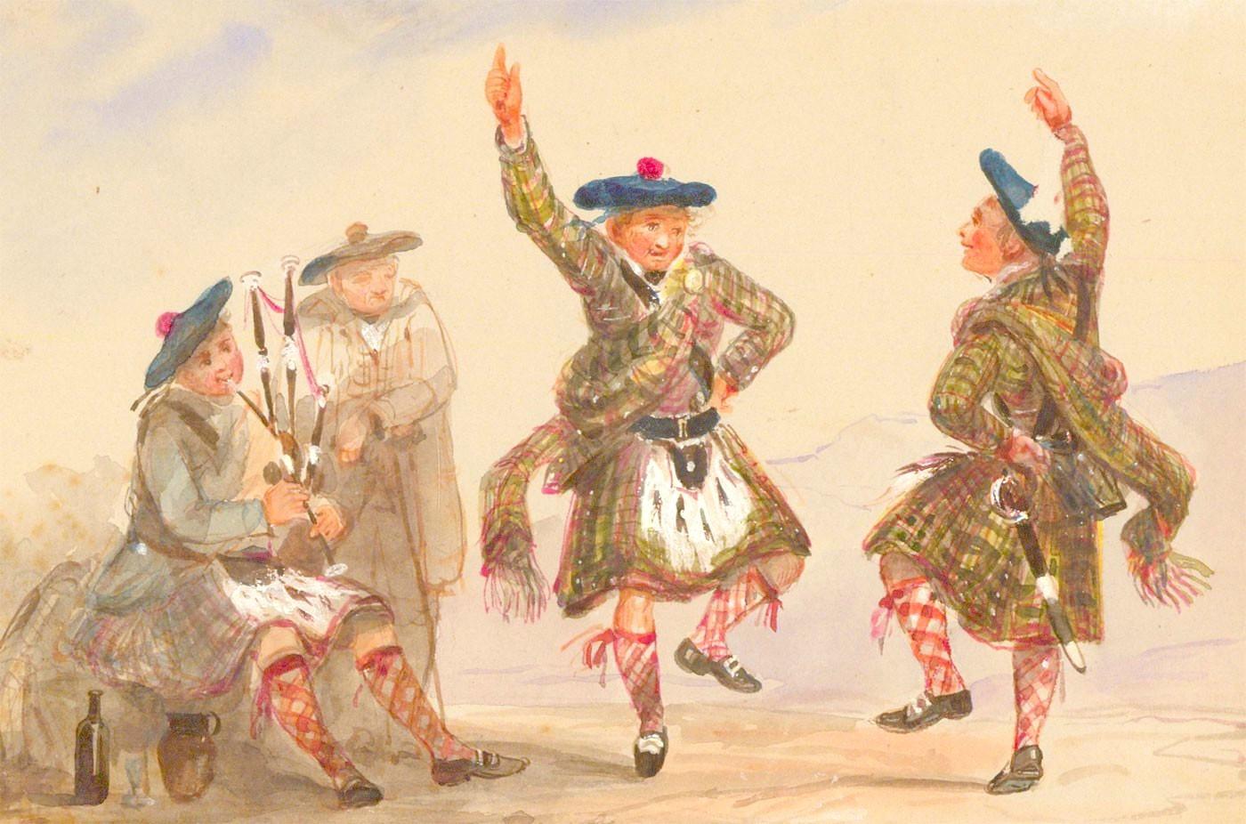 Scottish School Late 19th Century Watercolour - Scottish Dancers in a Landscape with Piper
