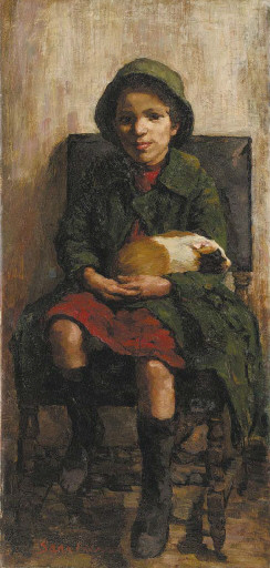 A Little Girl with a Guinea Pig