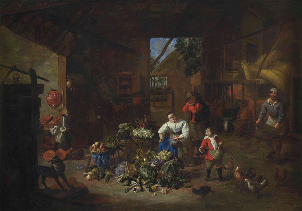 A woman selling vegetables in a barn with a boy feeding chickens