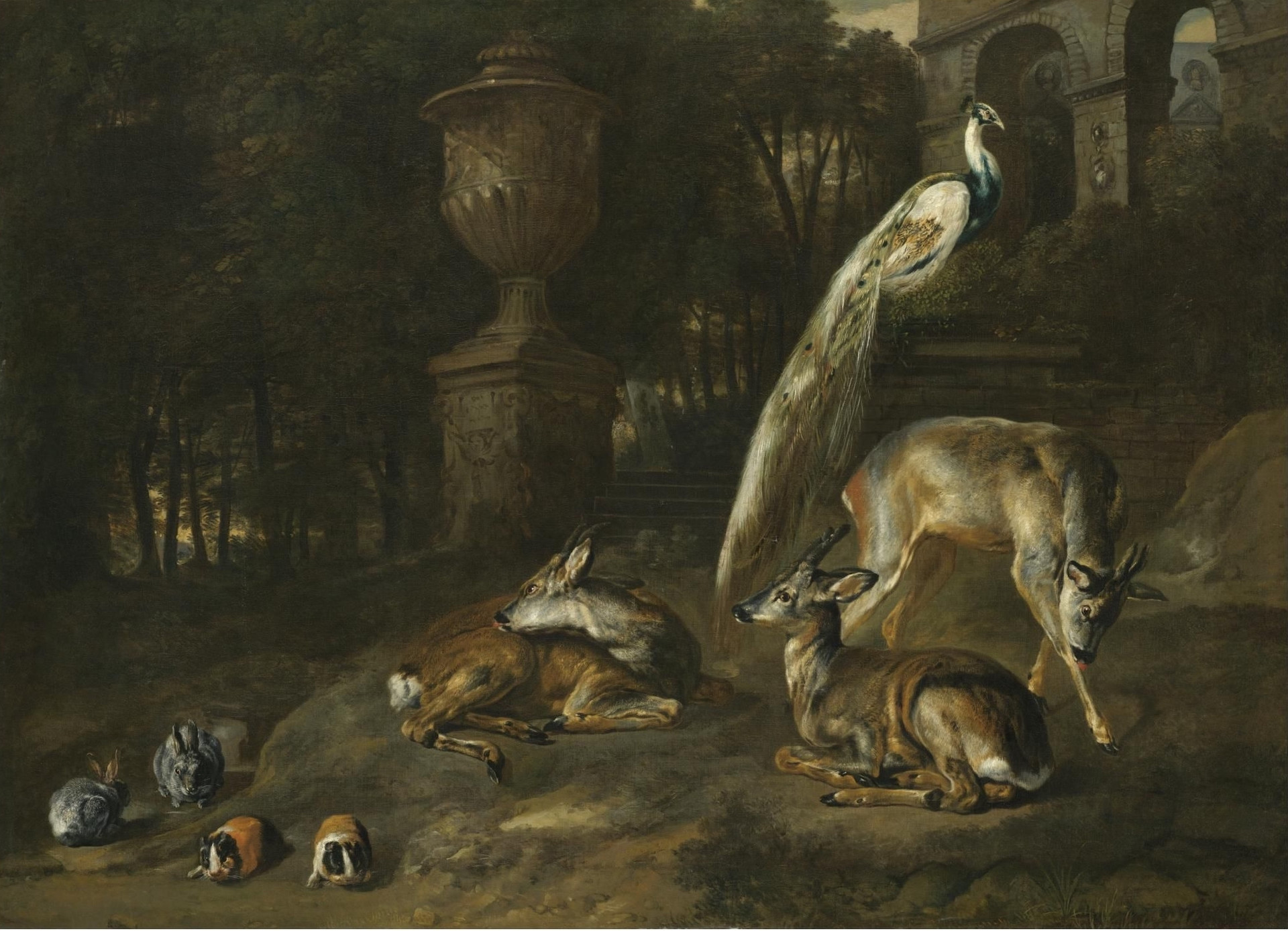 Rabbits, Guinea-Pigs, Roe-Deer and a Peacock in an Ornamental Garden