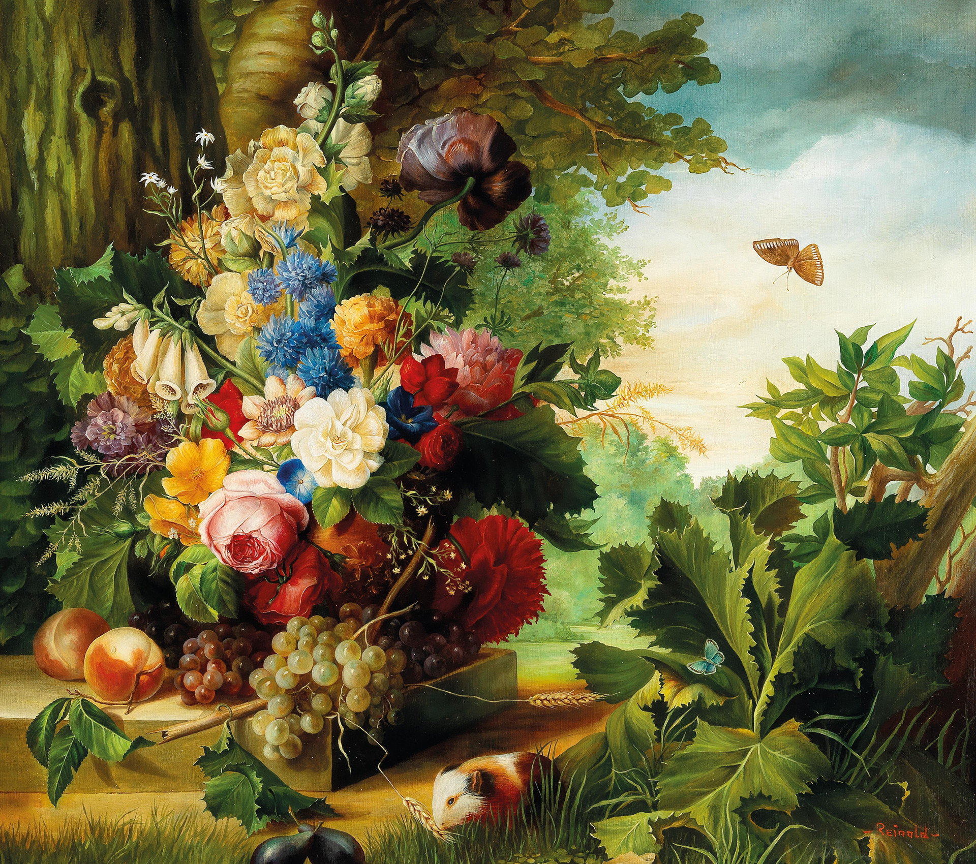 Still Life with Flowers, Butterfly, and Guinea Pig