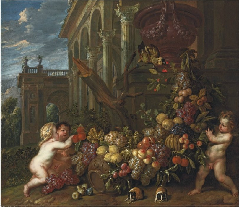 An architectural capriccio with putti around a swag of fruit, with a parrot and guinea pig