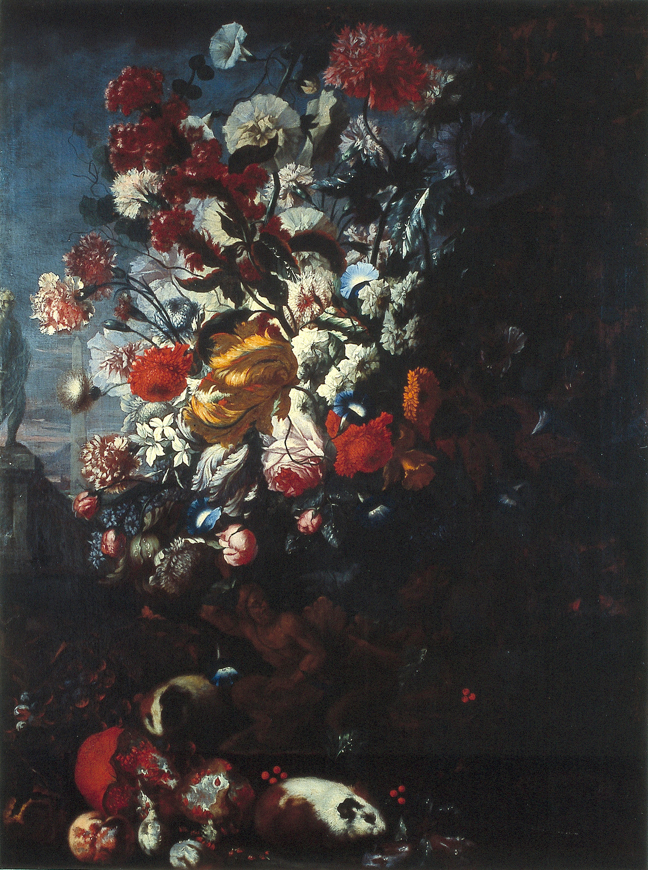 Vase with flowers and guinea pig in a landscape