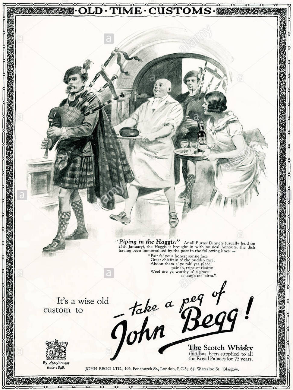 Piping In The Haggis John Begg Whisky 1920s advert for John Begg scotch