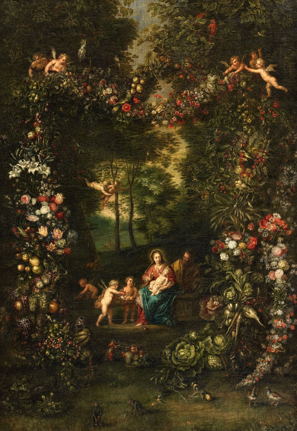 A Garland of Fruits with the Holy Family