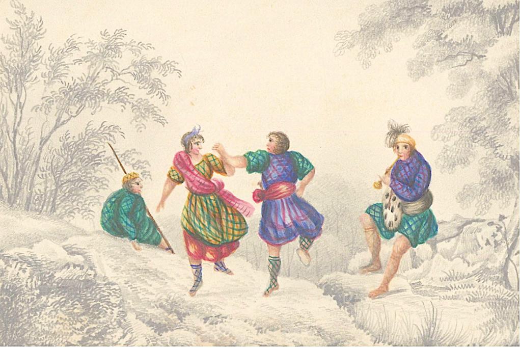 Scottish School 19th Century Watercolour - Scottish Dancing in a Landscape