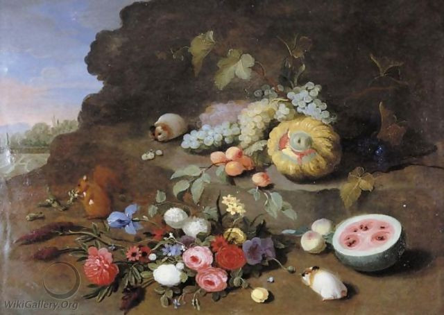 """A Still Life With A Posy Of Flowers, A Squirrel, Guinea Pigs, Grapes, A Melon And A Watermelon"""""""