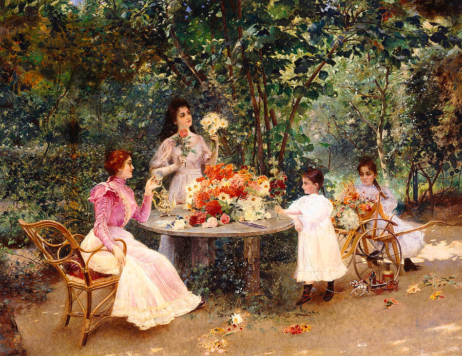 """""""Teatime In The Garden"""" by Edouard Frederic Wilhelm Richter )1844-1913)"""