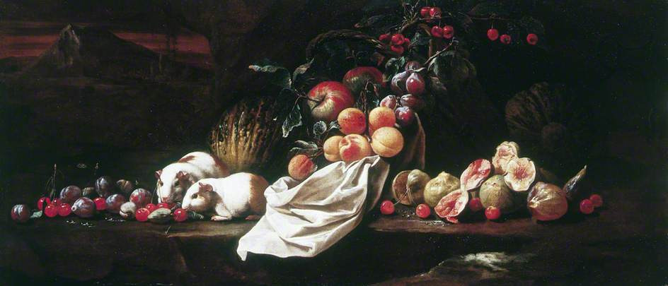 Still Life with Figs, Cherries, Plums and Two Guinea Pigs