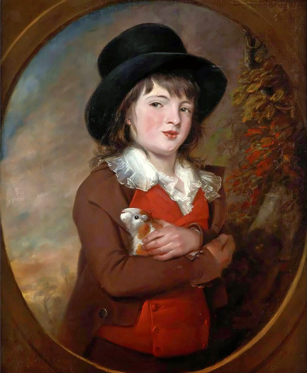Portrait of a Young Boy with Guinea Pig
