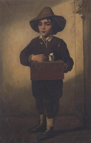 A Young Boy with a Guinea Pig