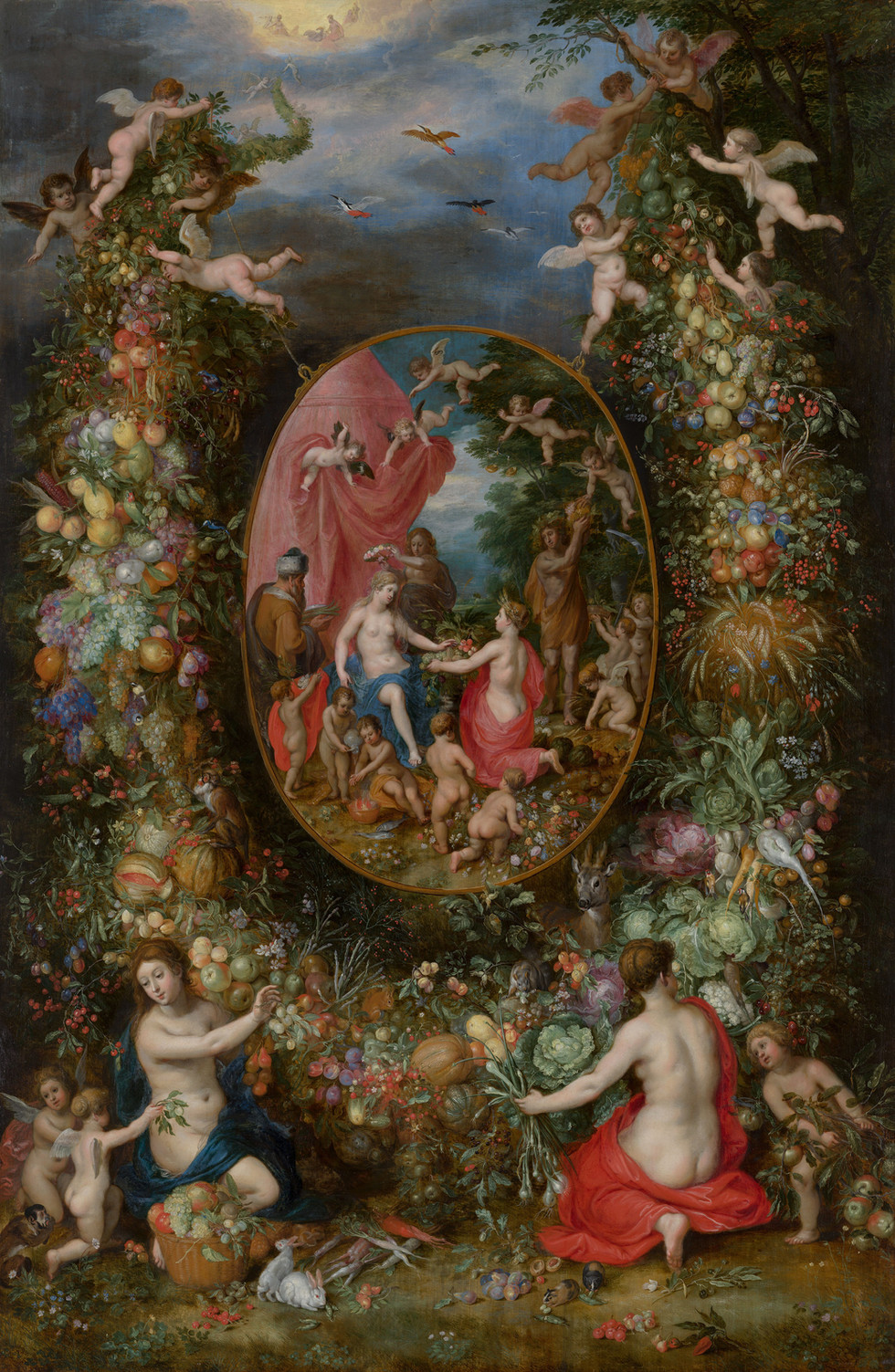 Garland of Fruit surrounding a Depiction of Cybele Receiving Gifts from Personifications of the Four Seasons