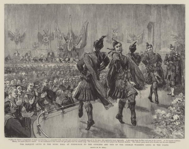 """""""The banquet in the Music Hall at Edinburgh to the officers and men of the German warships lying in the Forth"""" engraving by William Small, The Graphic, 2 June 1894"""