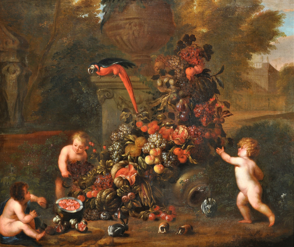 Putti with a Festoon of Fruit (and guinea pigs)