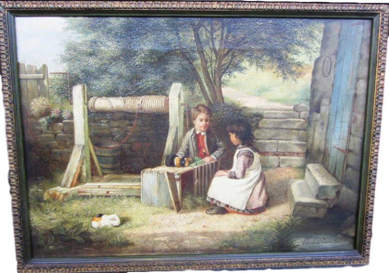 Two Children with Guinea Pigs in a Garden by a Well