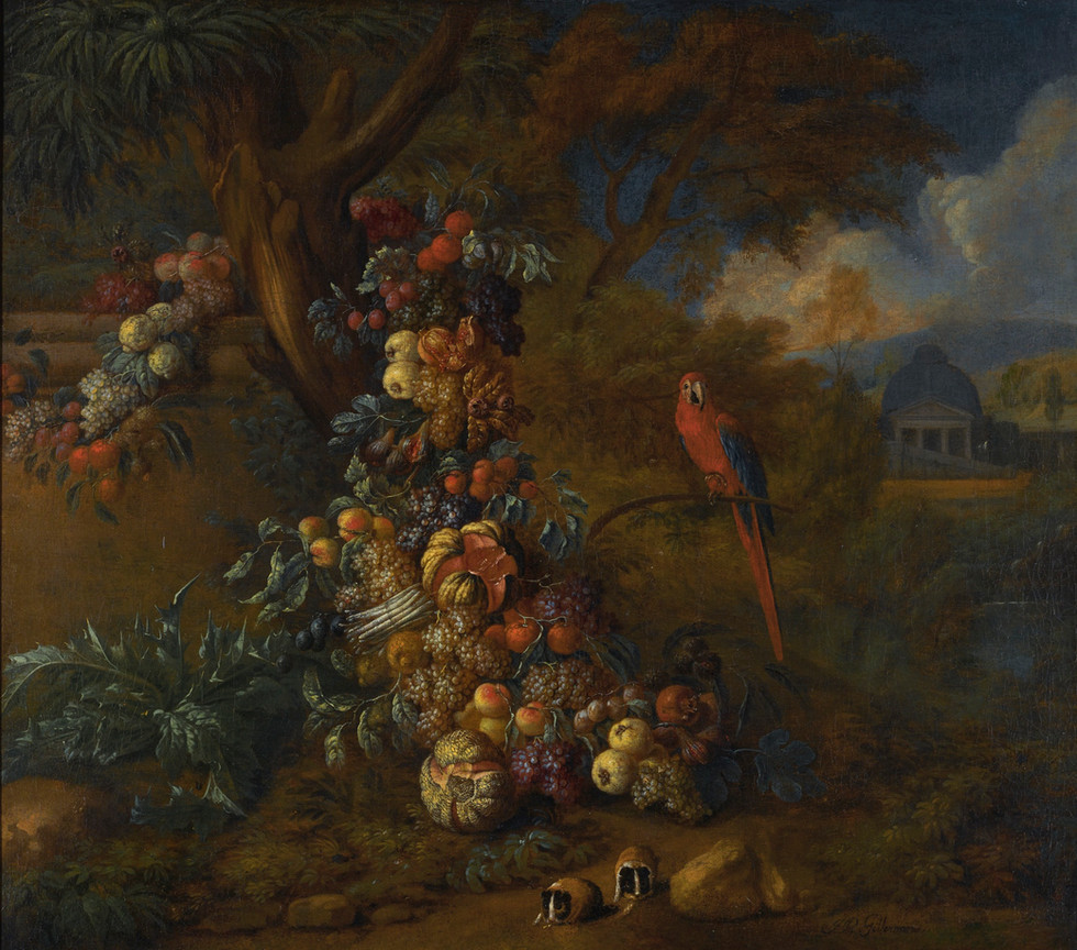 Still life of fruit and vegetables in a park landscape, with a macaw and two guinea pigs