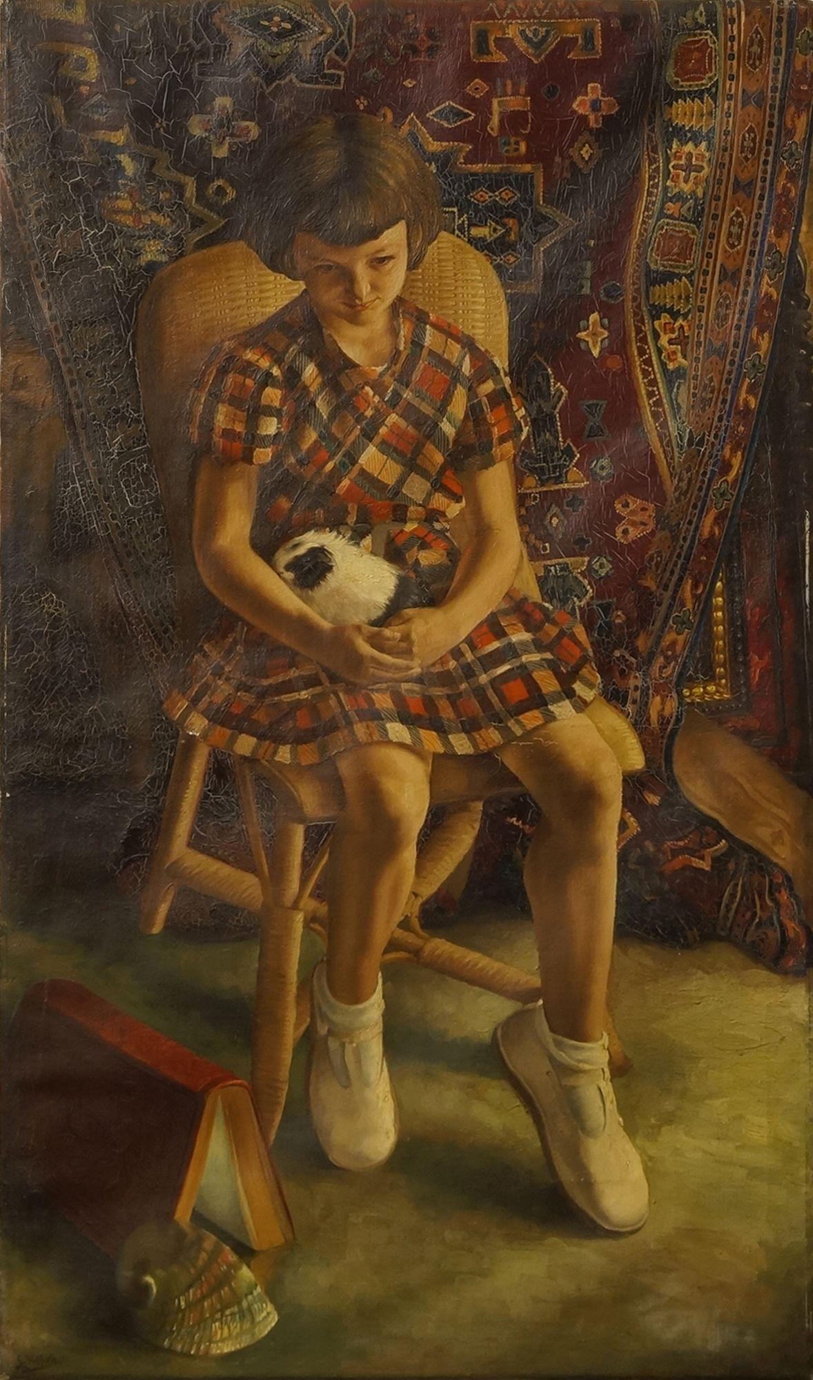 Portrait of a Girl Holding a Guinea Pig