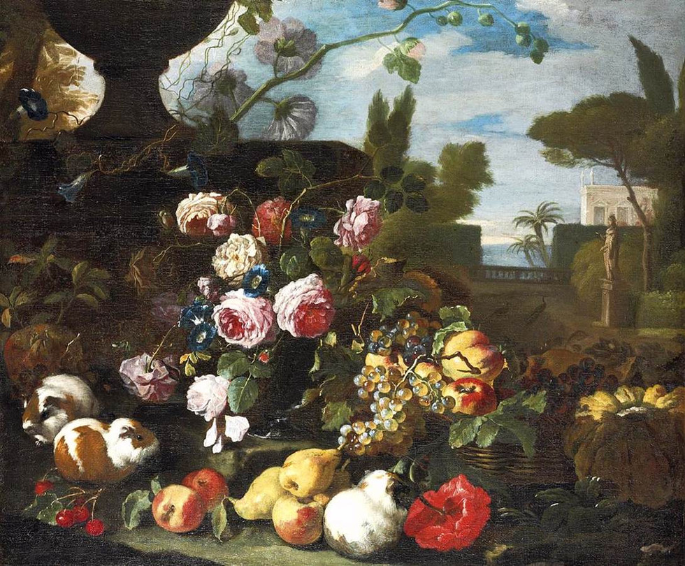 Flowers and Fruit in a Landscape with Guinea PIgs