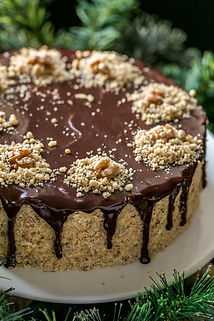Walnut Cake with Chocolate Spread