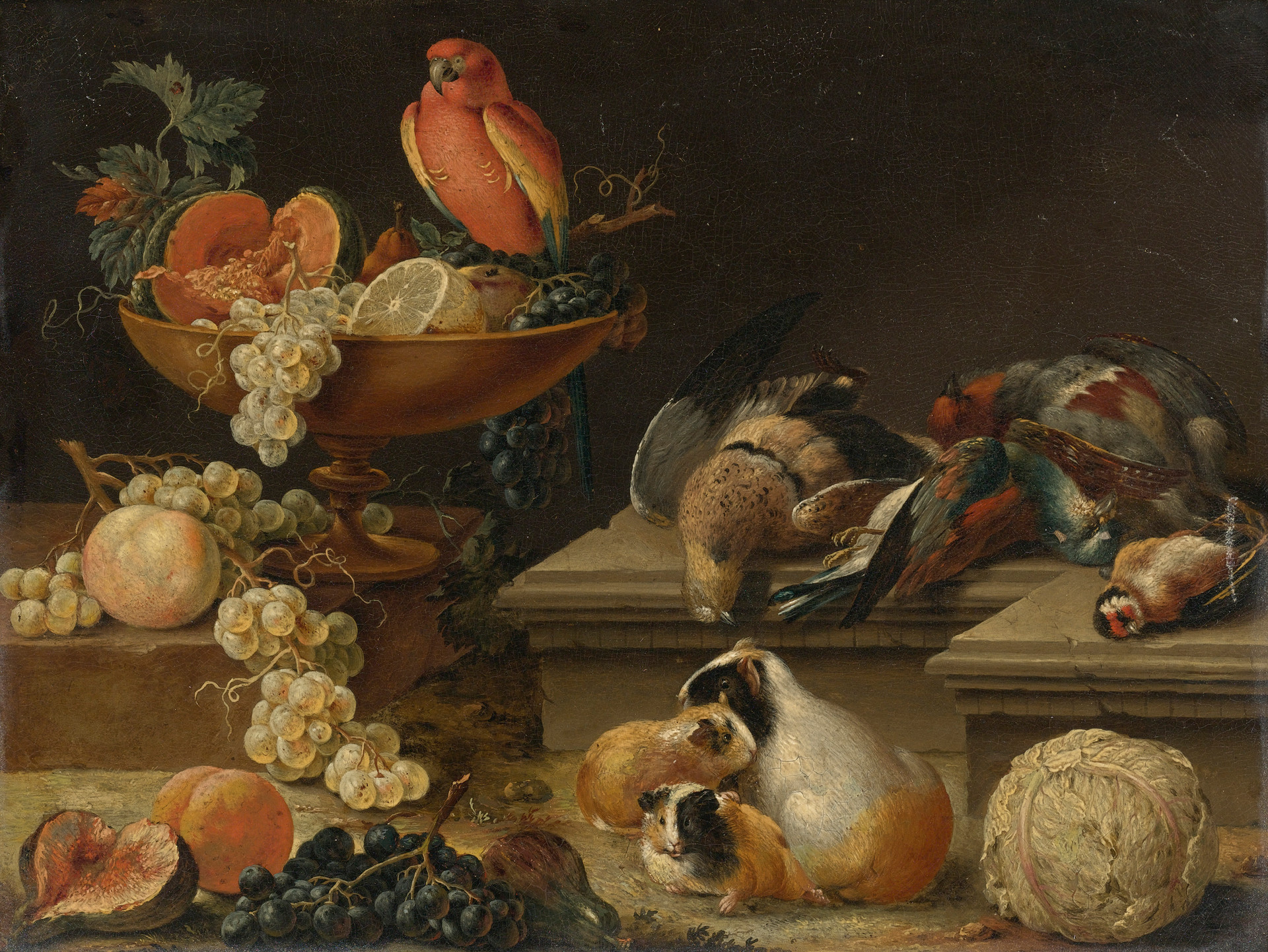 Still Life with a Parrot, Game Fowl, Guinea Pigs, and Fruit