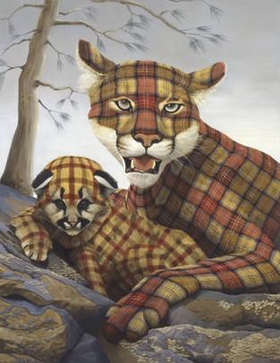 Tartan Mountain Lion and Cub