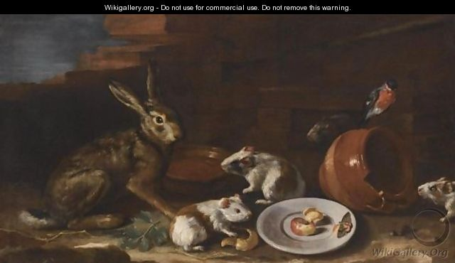 Cassana_A-Farmyard-Scene-With-A-Still-Life-Of-A-Rabbit,-Guinea-Pigs,-Apple-Peel-And-A-Butterfly-On-A