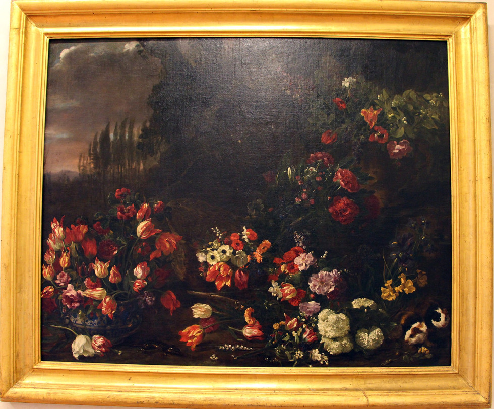 Flowers on a Landscape, Two Guinea Pigs and a Green Lizard