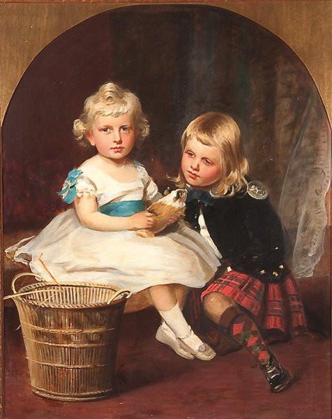 Children, kilt, guinea pig