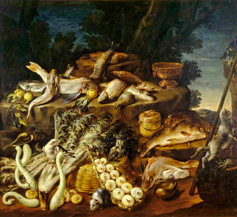 Still Life with Fish, Vegetables, Cats and Guinea pig