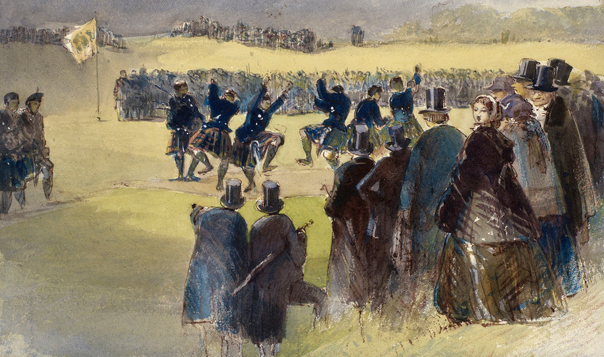 Highland Fete at Balmoral, 1859, Egron Lundgren,   A watercolour view of a group of people engaged in Highland dancing, watched by onlookers.   On 22 September 1859 a fête was held at Balmoral by Queen Victoria and Prince Albert. Games were held, for which the Queen gave out prizes, and were followed by dancing. Victoria recorded in her journal entry for that day that they were 'much pleased at all having gone off so well'.