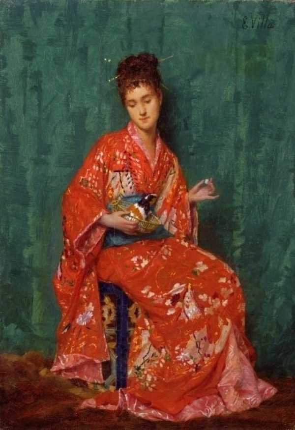 La Japonaise (Woman in kimono with 1 calico guinea pig)