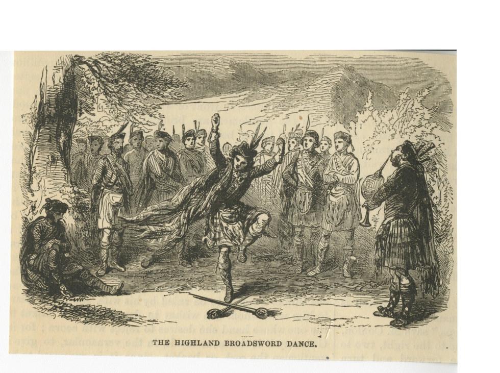 """Highland Broadsword Dance,""  vintage newspaper clipping  pre-1900"