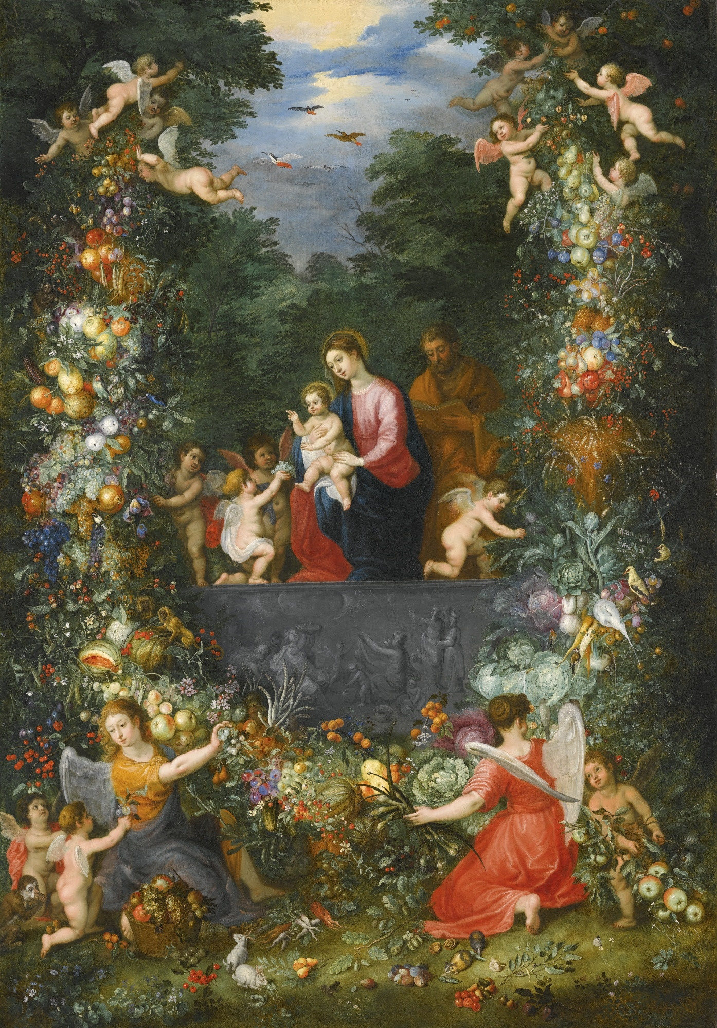 The Holy Family Within a Garland of Fruit, Flowers and Vegetables Held By Angels