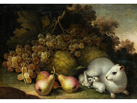 White Guinea Pig with Young and Fruit