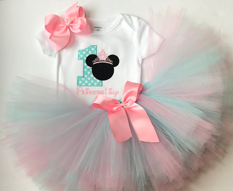 Minnie Mouse 1st Birthday Outfit.First Birthday Outfit Minnie Mouse 1st Birthday Cake Smash Hairbow Tutu Pink