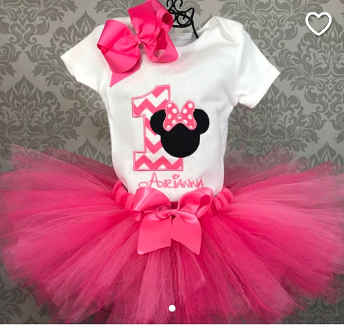 21fcee8ab Super Cute First Birthday Outfit for your little girl. The bodysuit is  embroidered with an adorable minnie mouse applique. It can be customized  with your ...