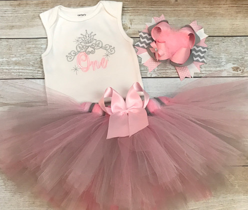 616446d9c60 Super Cute First Birthday Outfit for your little girl. The bodysuit is  embroidered with an adorable princess crown applique. It can be customized  with your ...