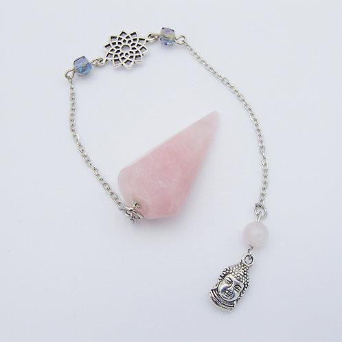 Buddah  & Lotus Rose Quartz Pendulum