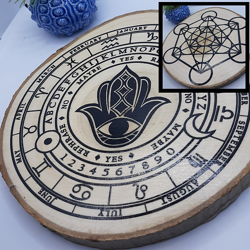 Hamsa & Metatrons Cube Divination Disc