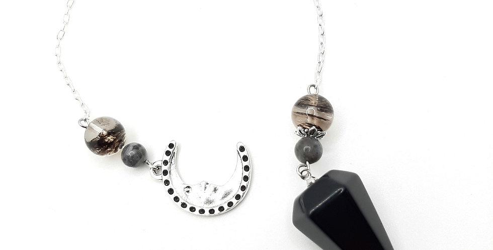 Obsidian, Black Moonstone, Black Cherry Quartz Pendulum