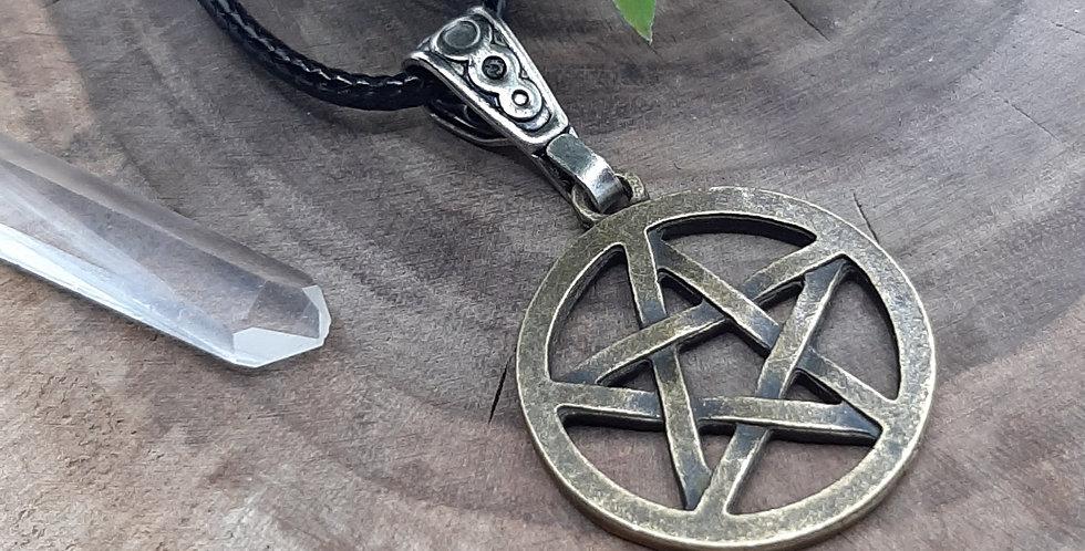 Antique Bronze Pentacle Necklace L